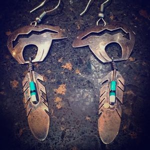 Native Navajo Sterling bear turquoise earrings💓🐻